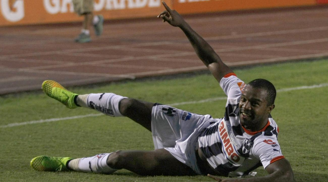 Monterrey's Dorlan Pabon celebrates during his hat trick against Cruz Azul on Saturday night.
