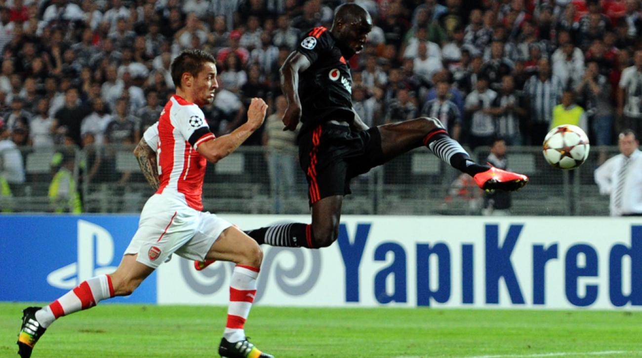 Demba Ba, right, nearly had Besiktas off to a flying start against Arsenal in the Champions League play-in round.