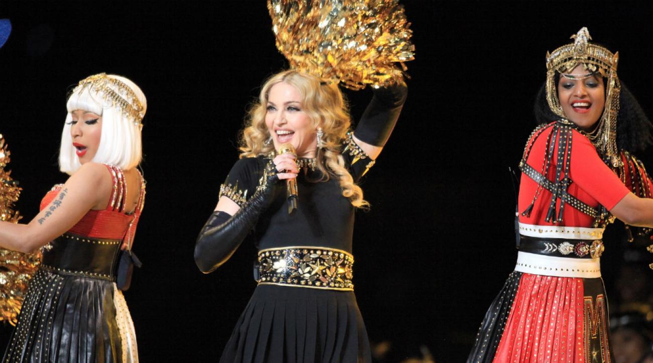 Nicki Minaj, Madonna, and M.I.A. perform at the Super Bowl XLVI halftime show.