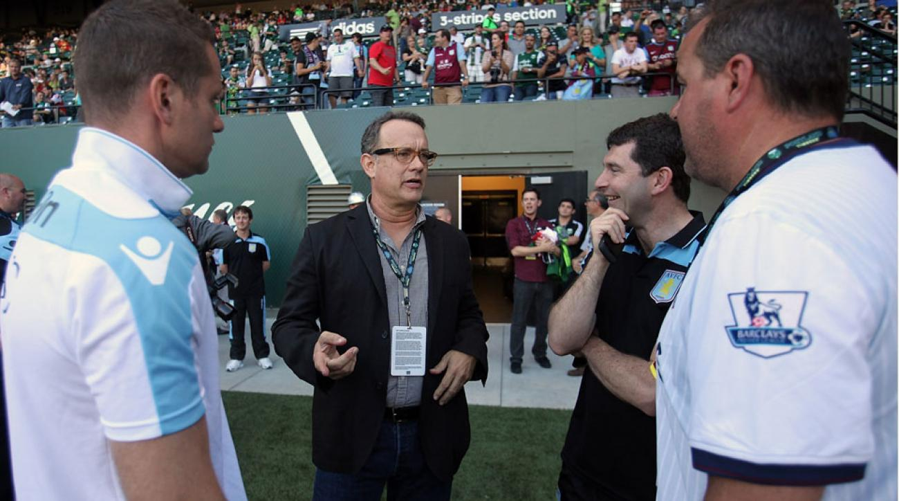 Tom Hanks is an avid fan of Aston Villa, and traveled to Portland to watch the club take on the Timbers in a preseason exhibition in 2012.