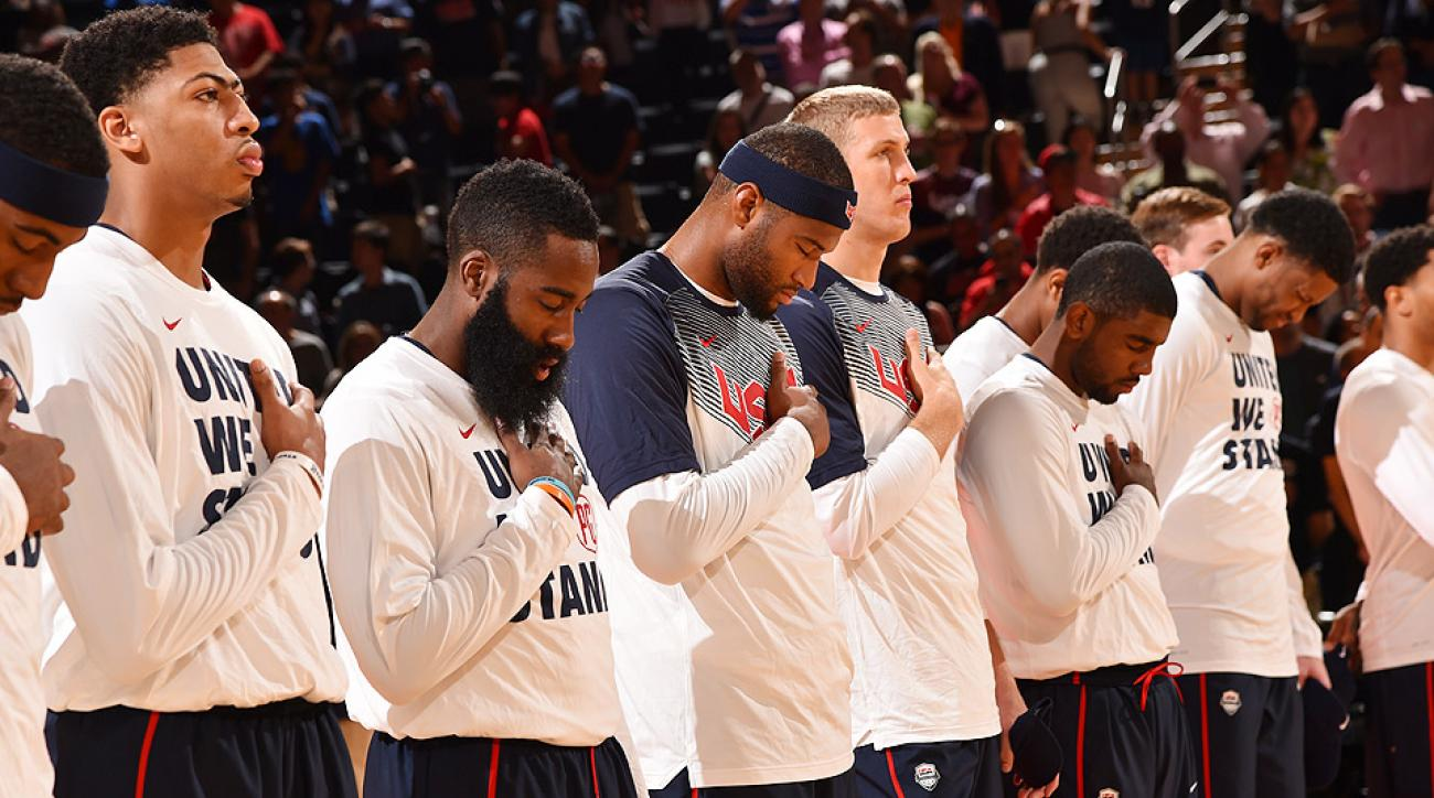 Jerry Colangelo and head coach Mike Krzyzewski named USA Basketball's 12-man FIBA World Cup roster, which includes James Harden, Anthony Davis and Derrick Rose among others.
