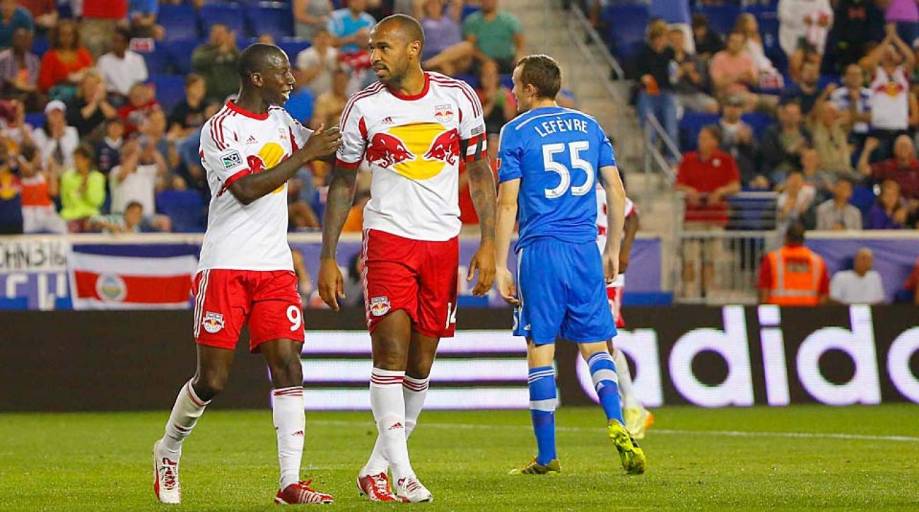 Bradley Wright-Phillips (left) and Thierry Henry were in sync Saturday night and played a part in all four of Red Bull New York's goals.