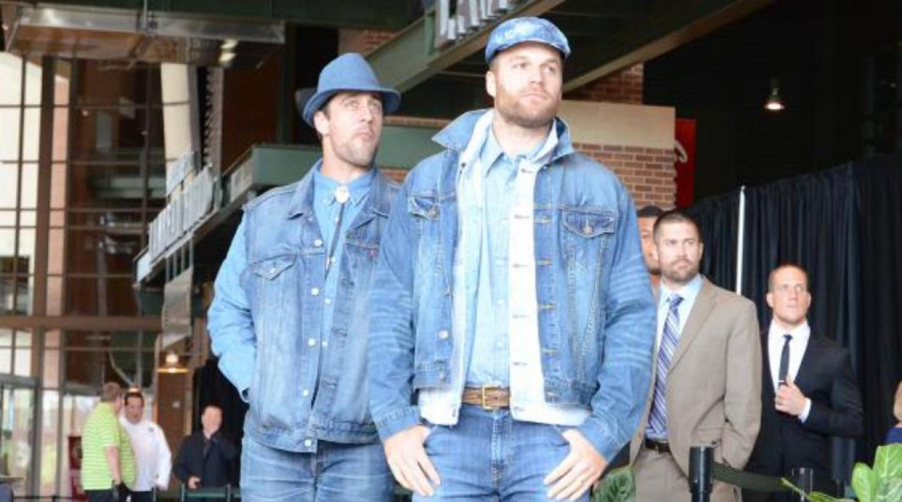 Aaron Rodgers wore a lot of denim to a Packers luncheon
