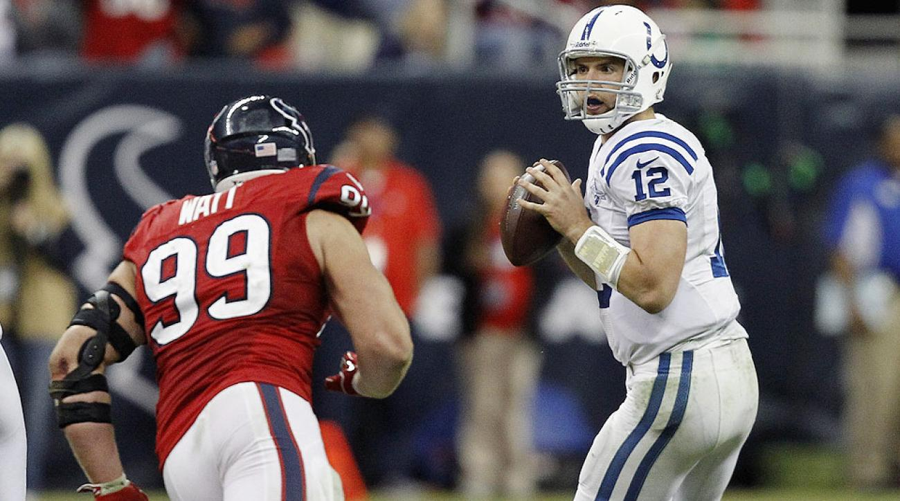 Andrew Luck and J.J. Watt during a 2013 game against the Texans