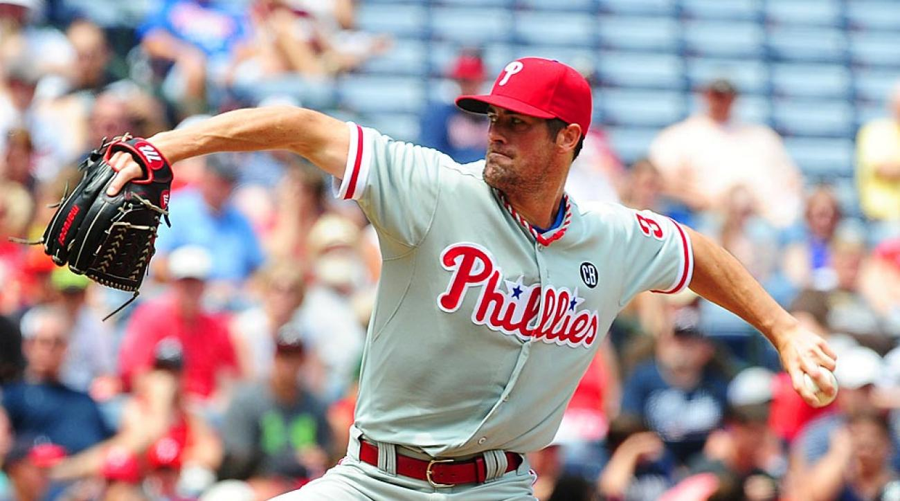Phillies starter Cole Hamels struck out seven hitters in six innings of work, the first of four Philadelphia pitchers who combined to no-hit the Braves.