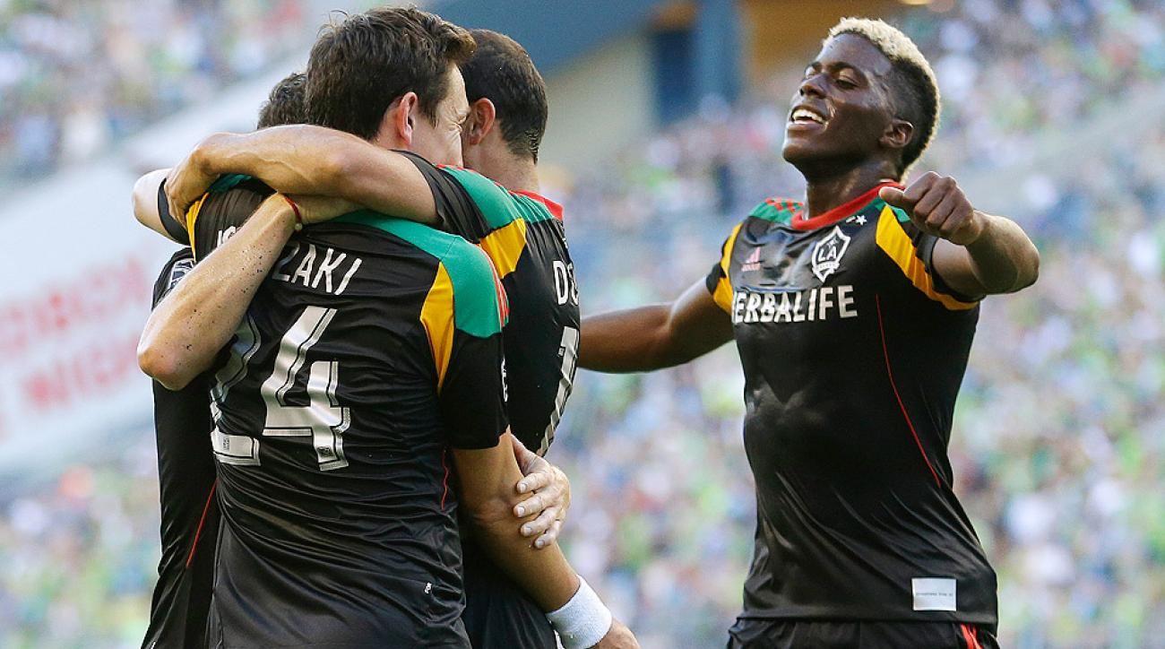 Gyasi Zardes (far right), shown here celebrating a goal against the Sounders on July 28, scored twice against Chivas USA.