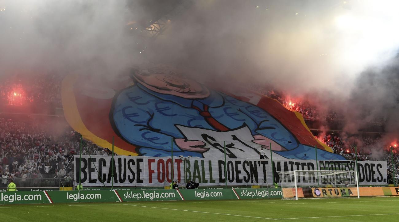 Legia Warsaw protest banner