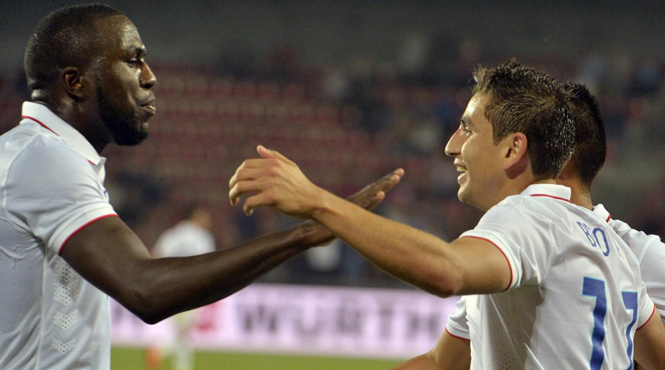 Jozy Altidore, left, celebrates with goal scorer Alejandro Bedoya during the USA's 1-0 win over the Czech Republic.