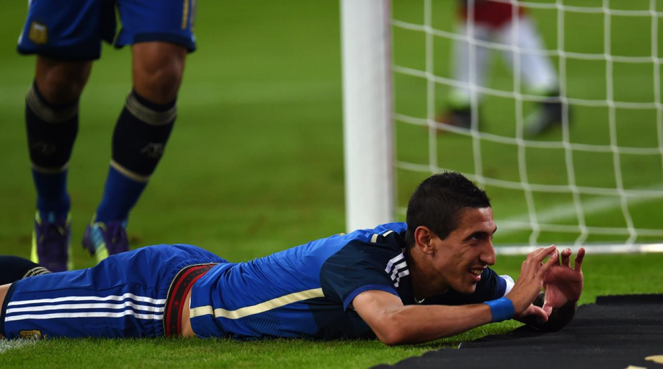 Argentina's Angel di Maria celebrates after scoring on Germany in a 4-2 victory on Wednesday.