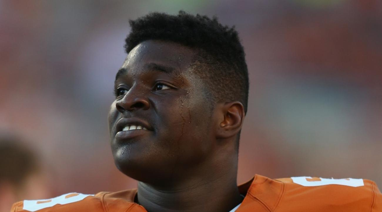 Texas left tackle Desmond Harrison will not play against BYU after violating team rules.
