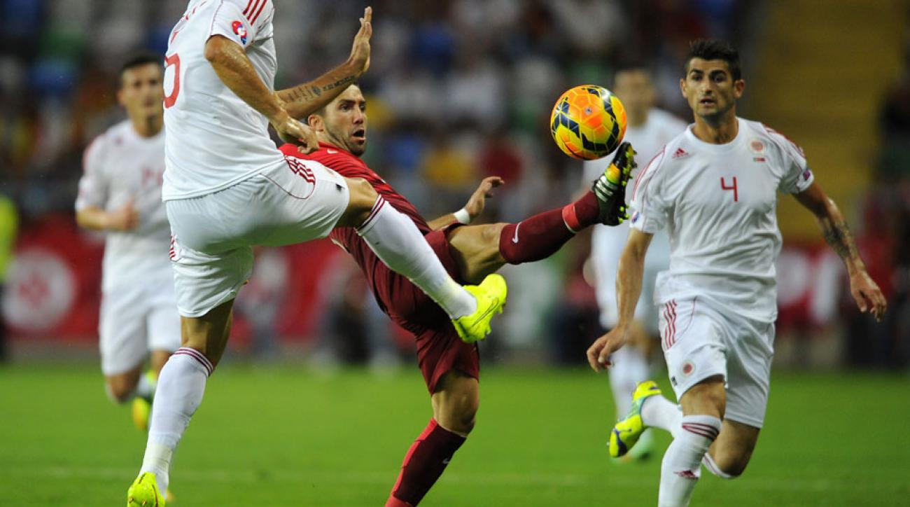 Joao Moutinho and Portugal struggled despite playing at home in a 1-0 loss to Albania in Euro 2016 qualifying.