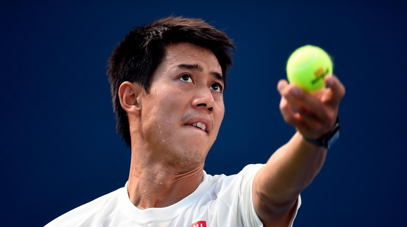Kei Nishikori of Japan practices on Day fourteen of the 2014 US Open at the USTA Billie Jean King National Tennis Center on September 7, 2014.