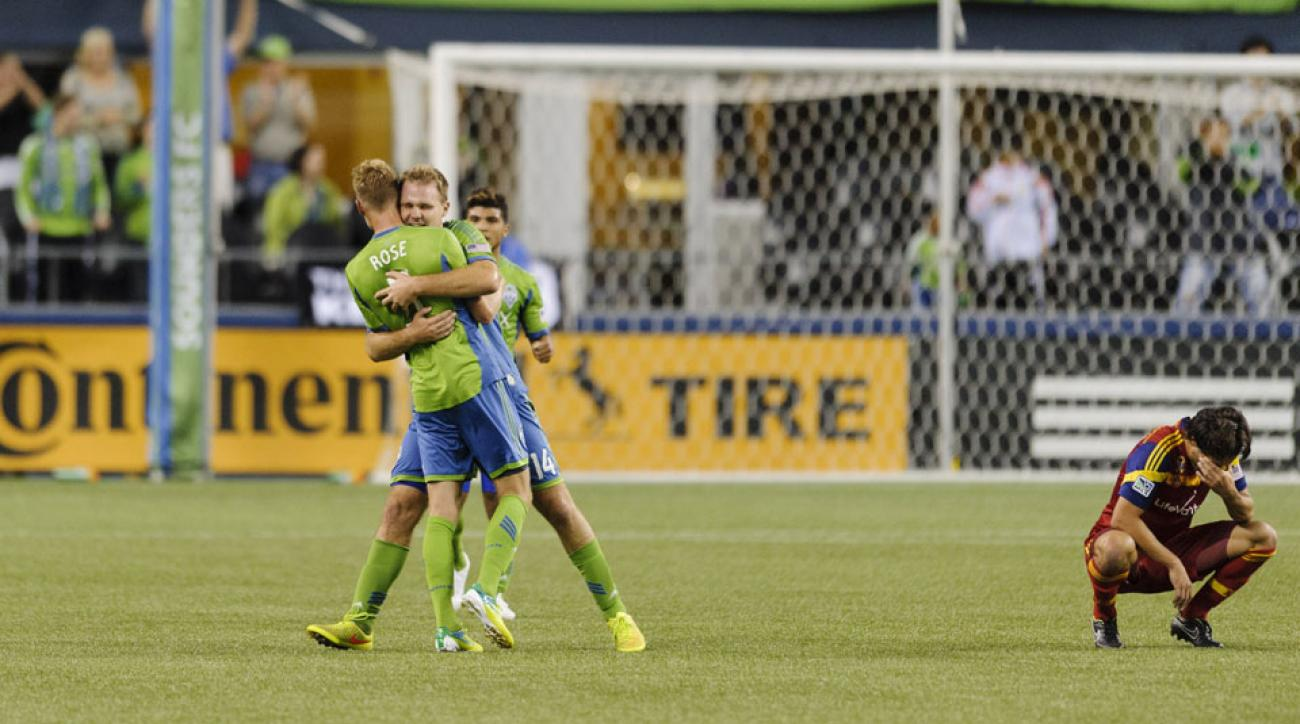 Andy Rose scored the winning goal in stoppage time as Seattle defeated Real Salt Lake on Sunday night.