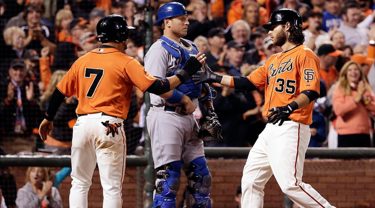 The Giants' Brandon Crawford hit a two-run home run in the bottom of the fifth against the Dodgers.