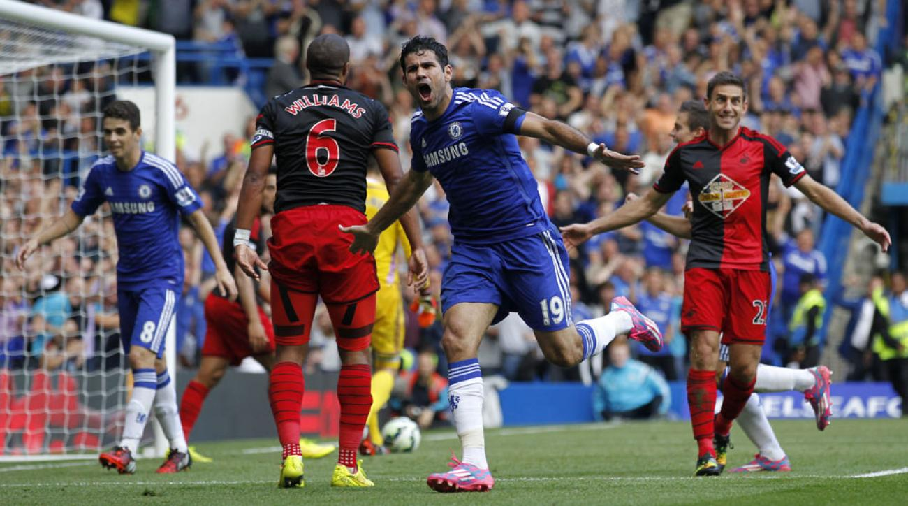 Diego Costa scored a hat trick to continue his red-hot start to the season in Chelsea's 4-2 win over Swansea City.