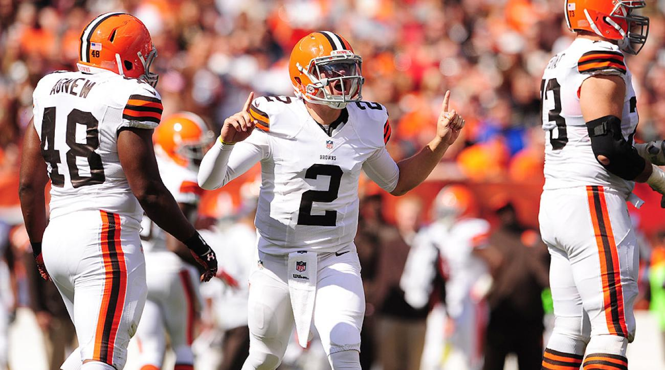 Cleveland Browns' Johnny Manziel in for the first plays of his NFL career