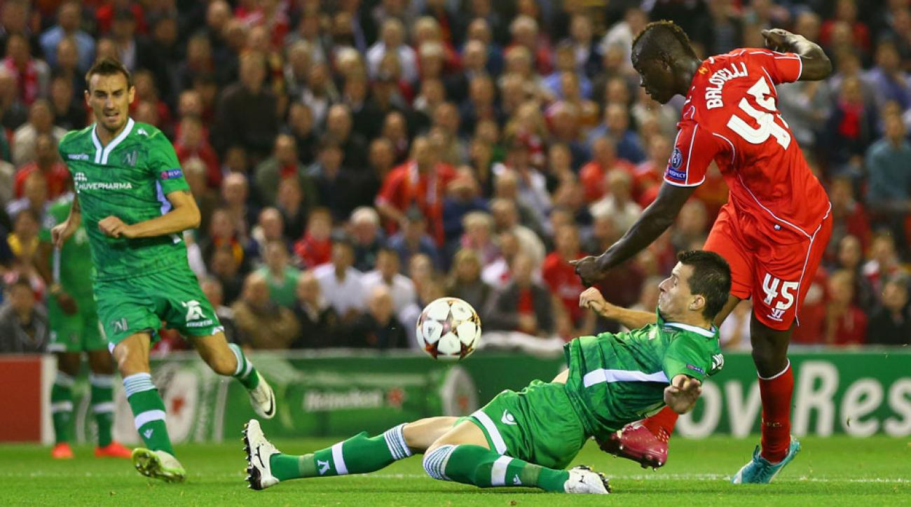 Mario Balotelli scored his first goal for Liverpool late in in his side's 2-1 win over Ludogorets at Anfield on Tuesday.