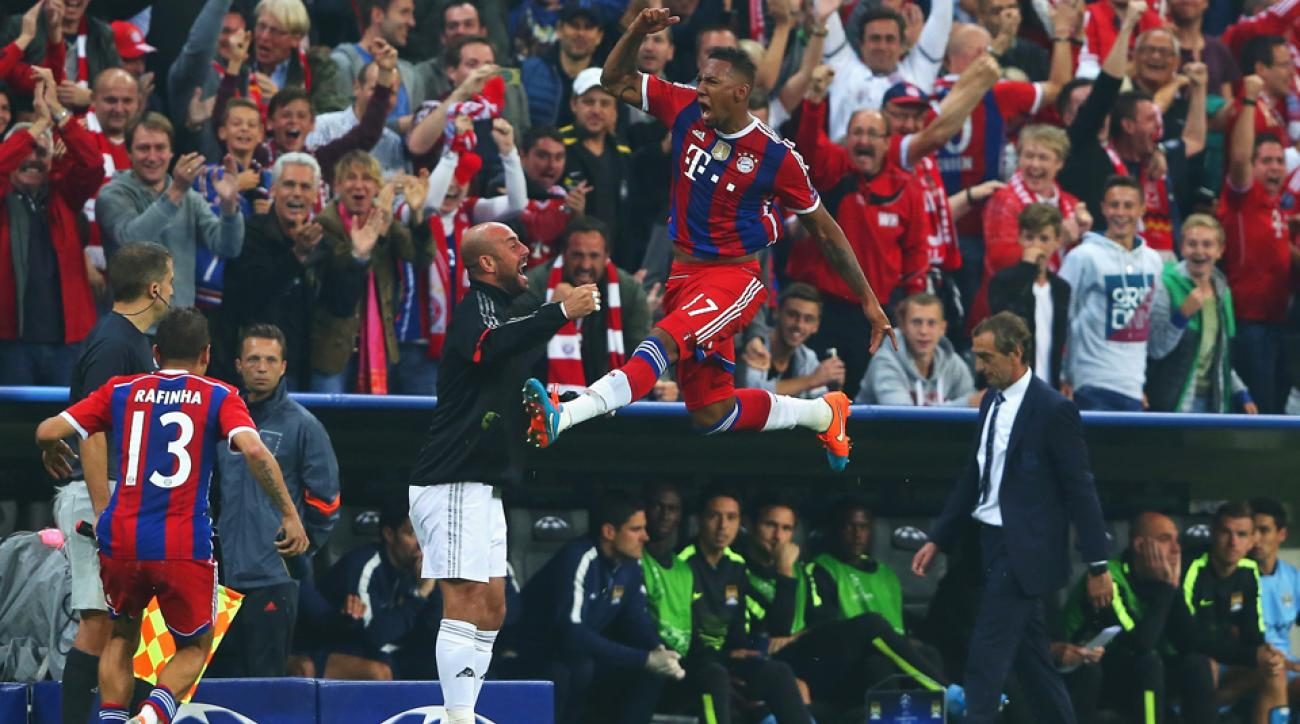Jerome Boateng gets some serious air after his 90th-minute volley lifted Bayern Munich to a 1-0 Champions League win over Manchester City.