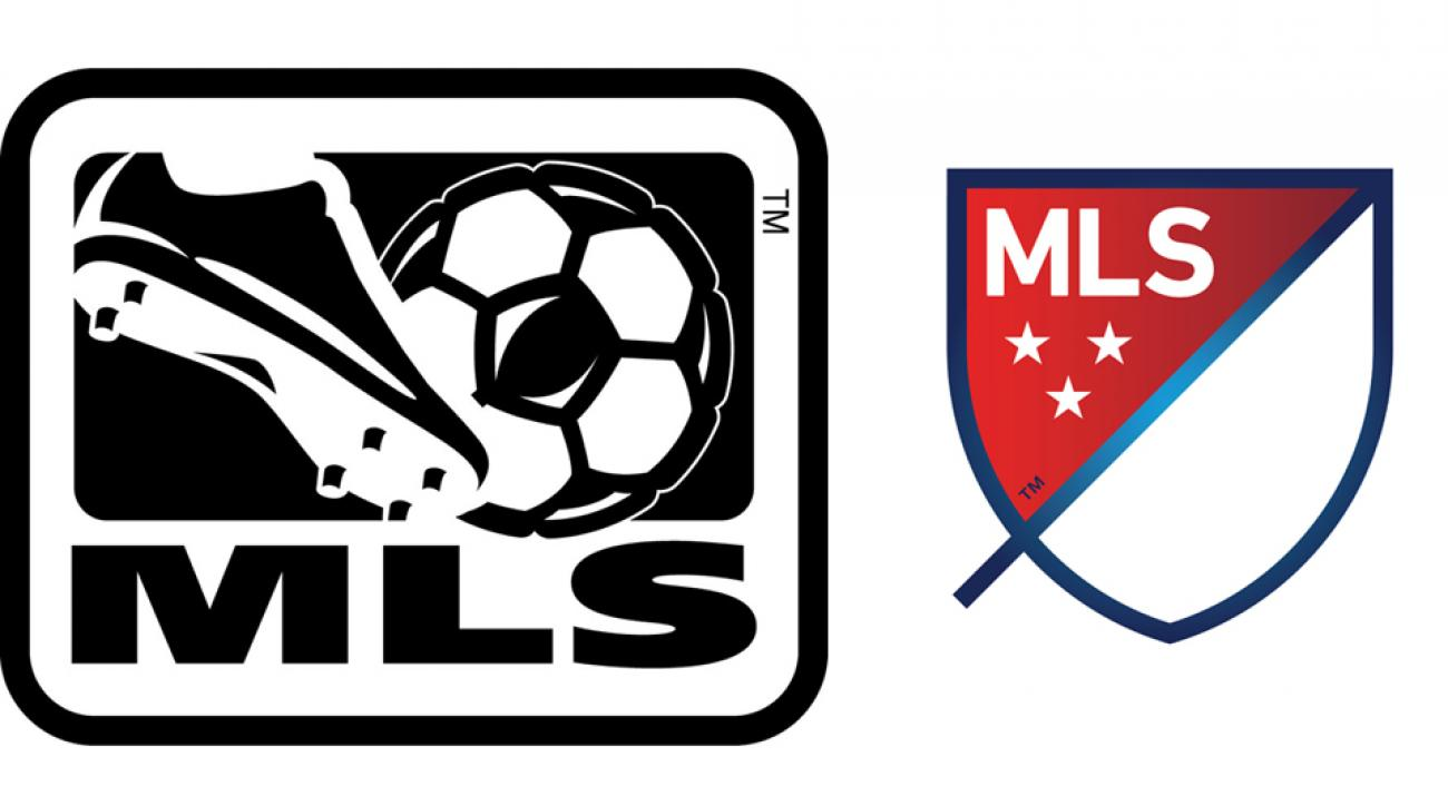 The old MLS logo, left, is being replaced by a new design as the league attempts to rebrand ahead of its 20th season.