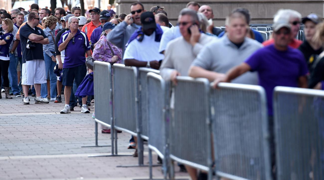 Baltimore Ravens fans lined up to exchange Ray Rice jerseys after a video surfaced showing Rice's domestic violence incident.