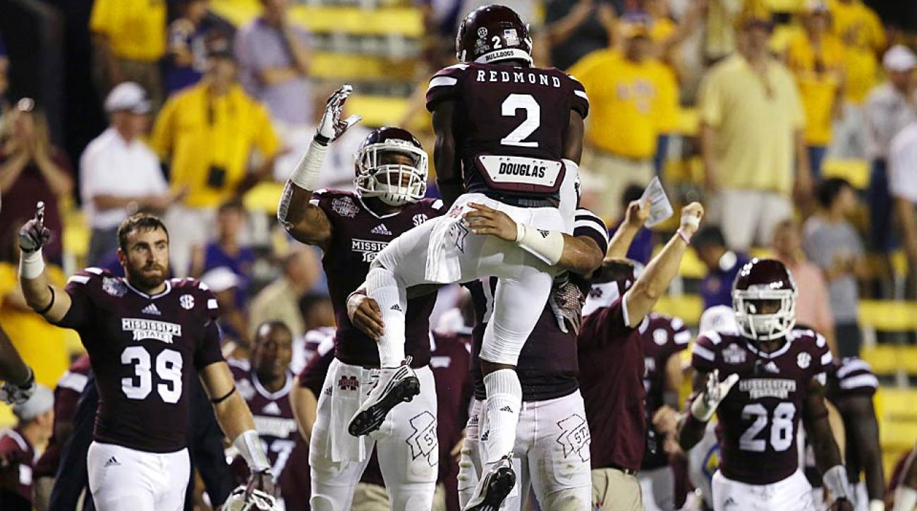 Mississippi State celebrates its win over LSU