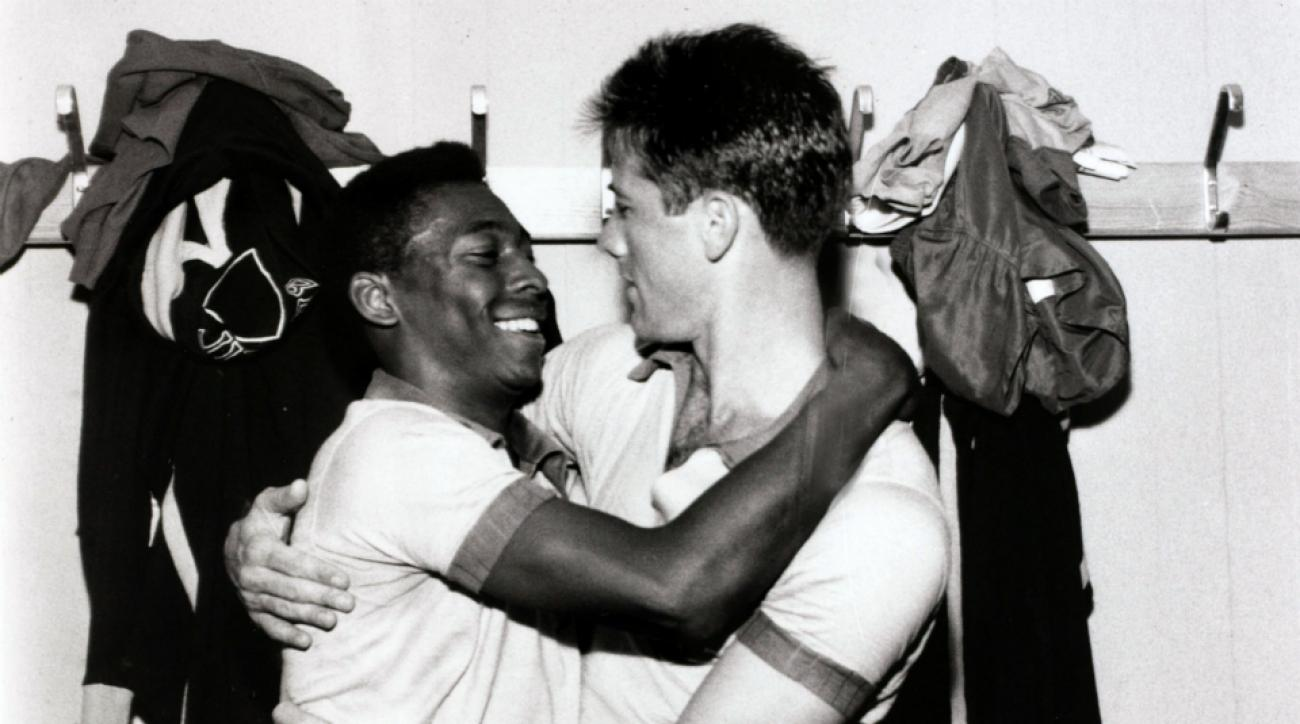 Bellini, right, with soccer legend Pele at the 1958 World Cup.