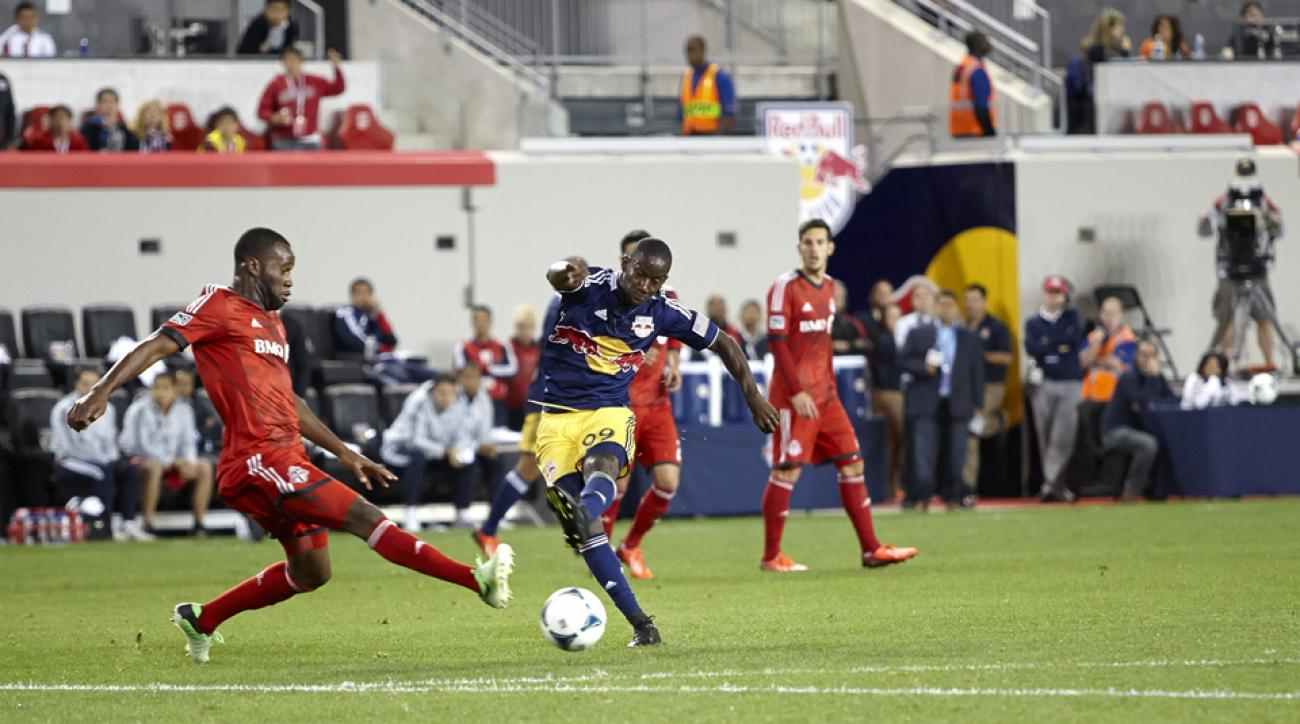 New York Red Bulls forward Bradley Wright-Phillips (99) is closing in on the MLS single-season goal-scoring record.