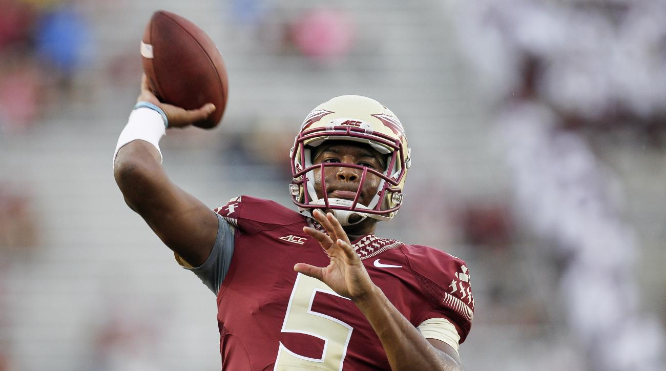 Quarterback Jameis Winston of the Florida State Seminoles during pre-game warm-ups before playing against the Citadel Bulldogs at Doak Campbell Stadium on Bobby Bowden Field on September 6, 2014 in Tallahassee, Florida.