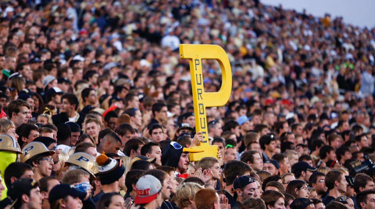 Purdue sign yellow p