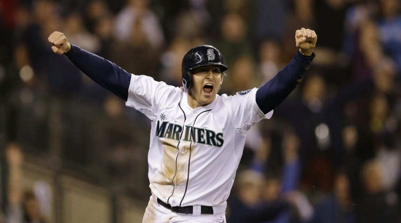 Brad Miller scored the winning run in the 11th inning as the Mariners topped the Angels in an intense game on Saturday night.