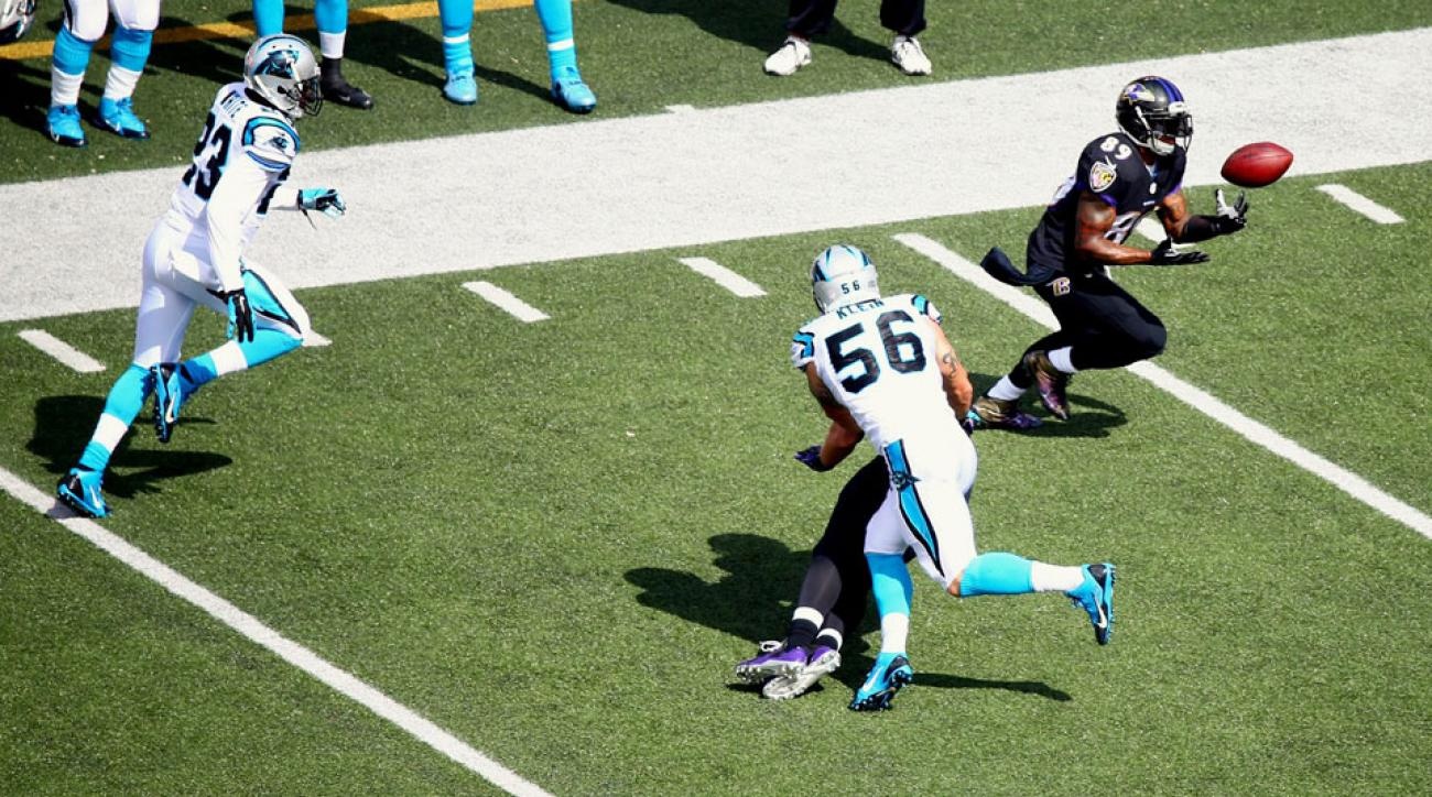 NFL Week 4: Steve Smith scores 2 TDs in Baltimore Ravens' rout of Carolina Panthers