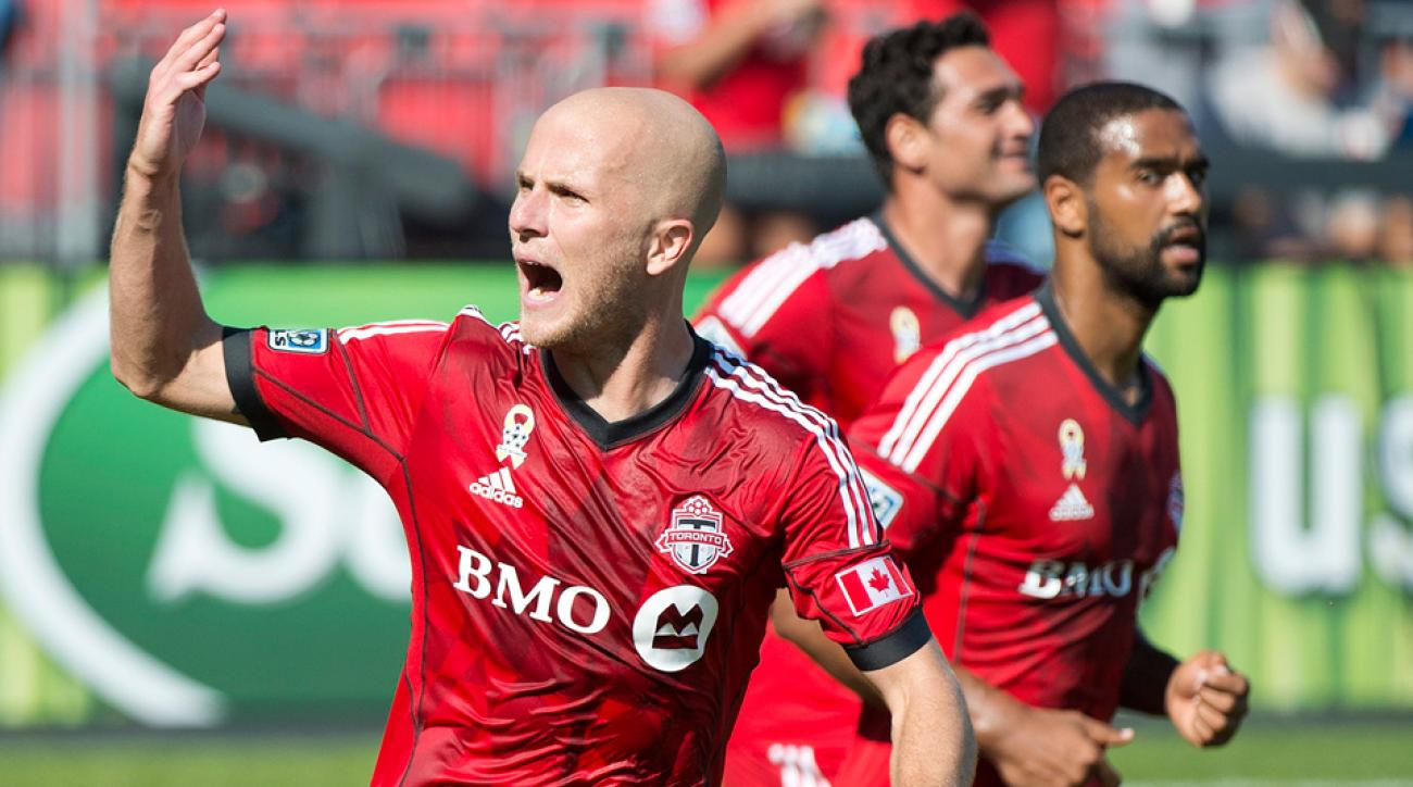 Michael Bradley celebrates his game-winning goal for Toronto FC against the Portland Timbers.