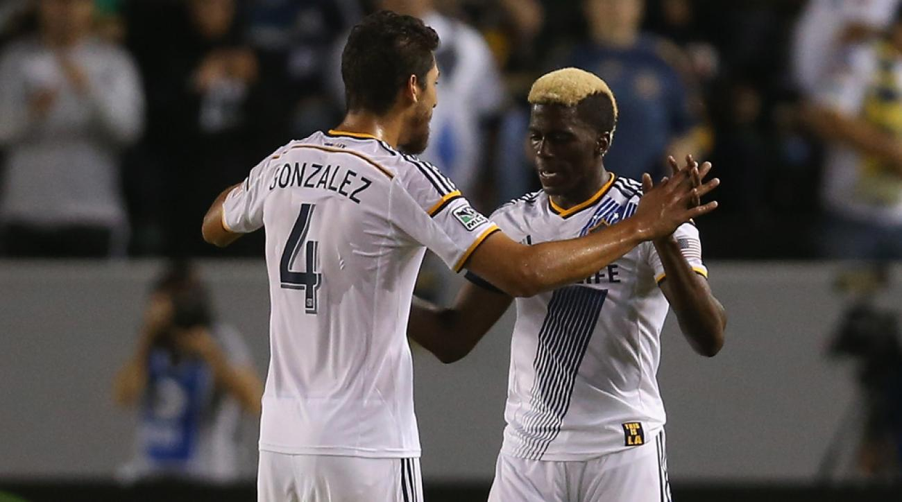 There's been plenty for Omar Gonzalez, left, and Gyasi Zardes to celebrate during the LA Galaxy's nine-game unbeaten run.