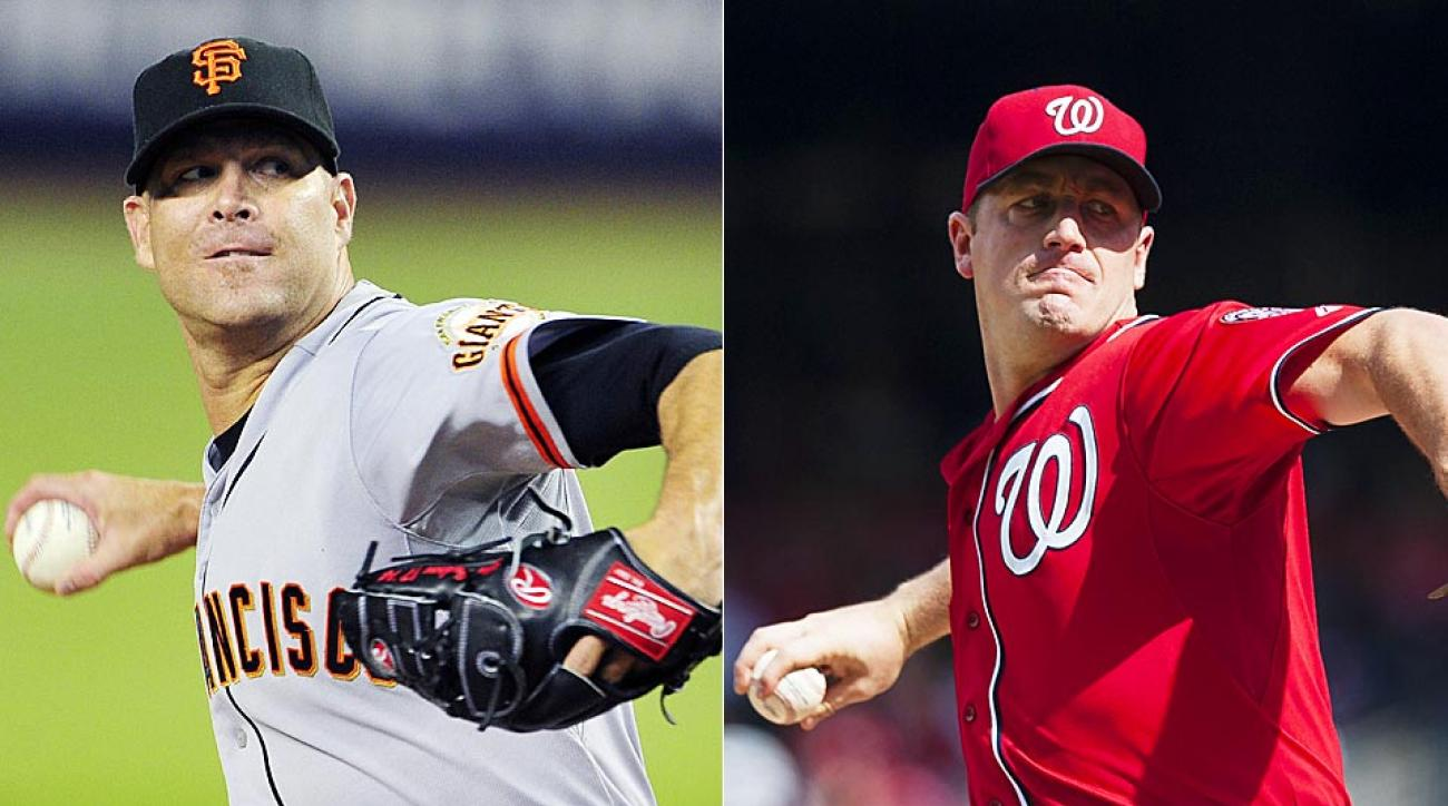 Can the Nationals' Jordan Zimmermann (right) slow down the Giants' Tim Hudson in a crucial NLDS Game 2 matchup?