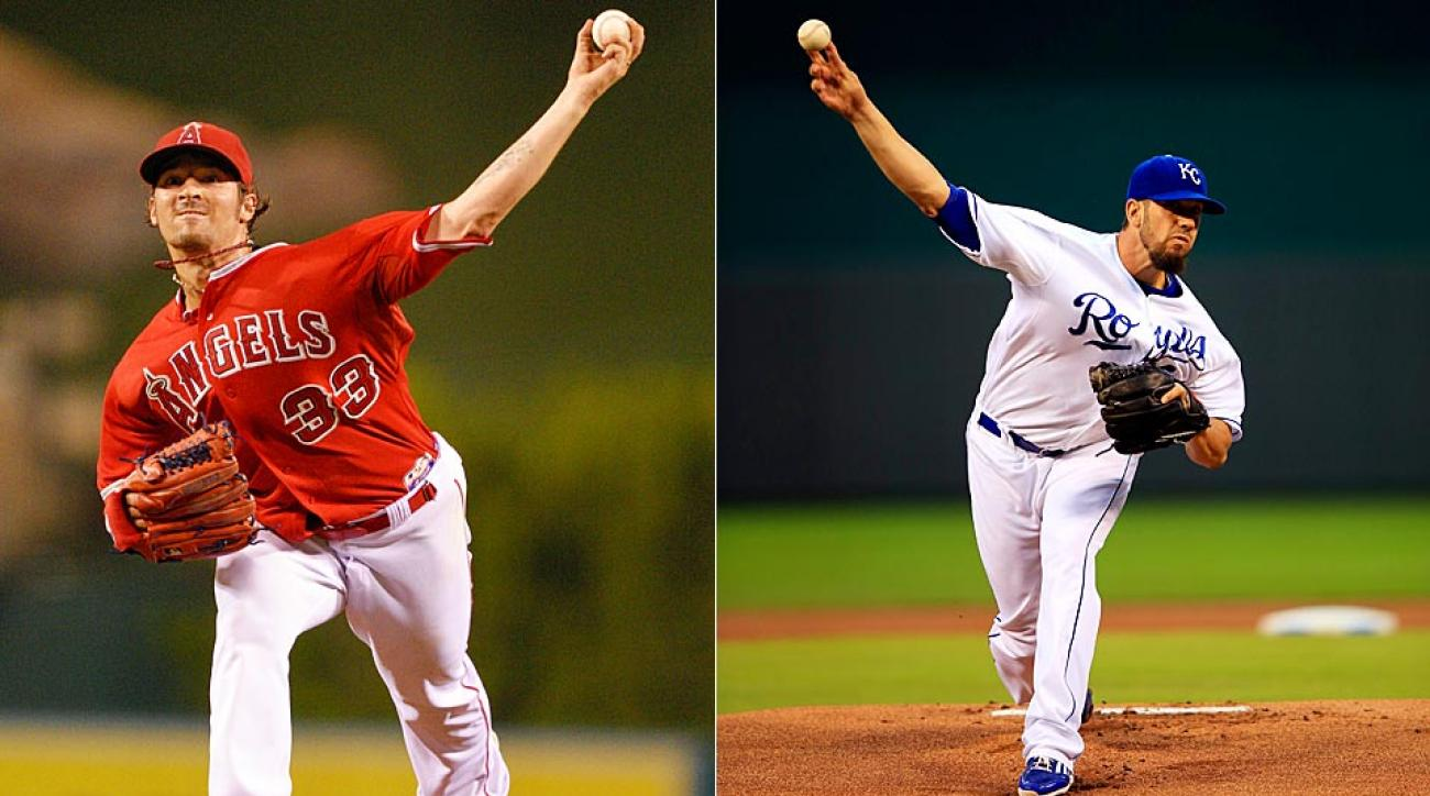 C.J. Wilson (left) takes the mound for the Angels trying to keep Los Angeles' season alive vs. James Shields and the Royals.