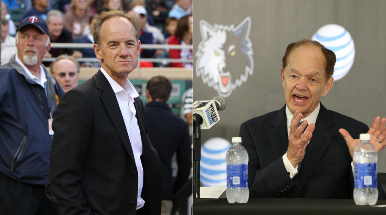 Minnesota Twins owner Jim Pohlad, left, and Timberwolves owner Glen Taylor have partnered with Minnesota United's potential bid for an MLS expansion team.