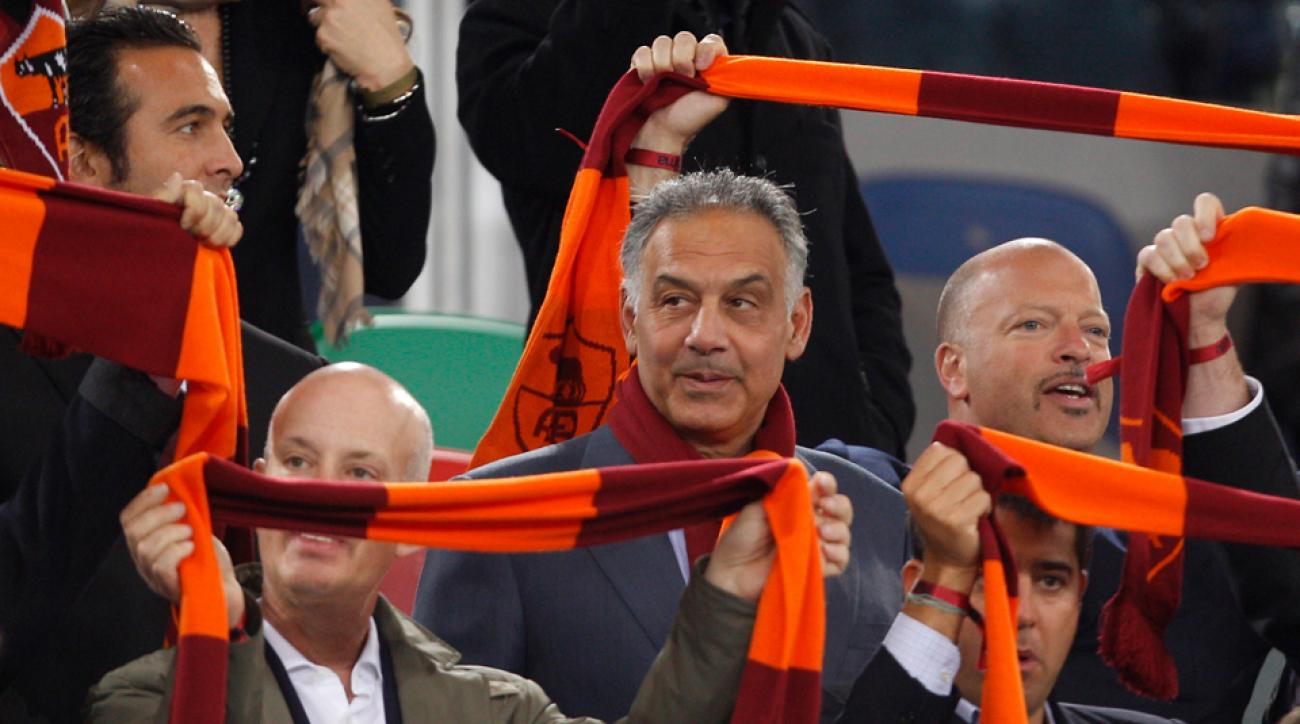 Roma's American owner James Pallotta, center, wants to bring the NFL and NBA to his new venue in the Italian capital.