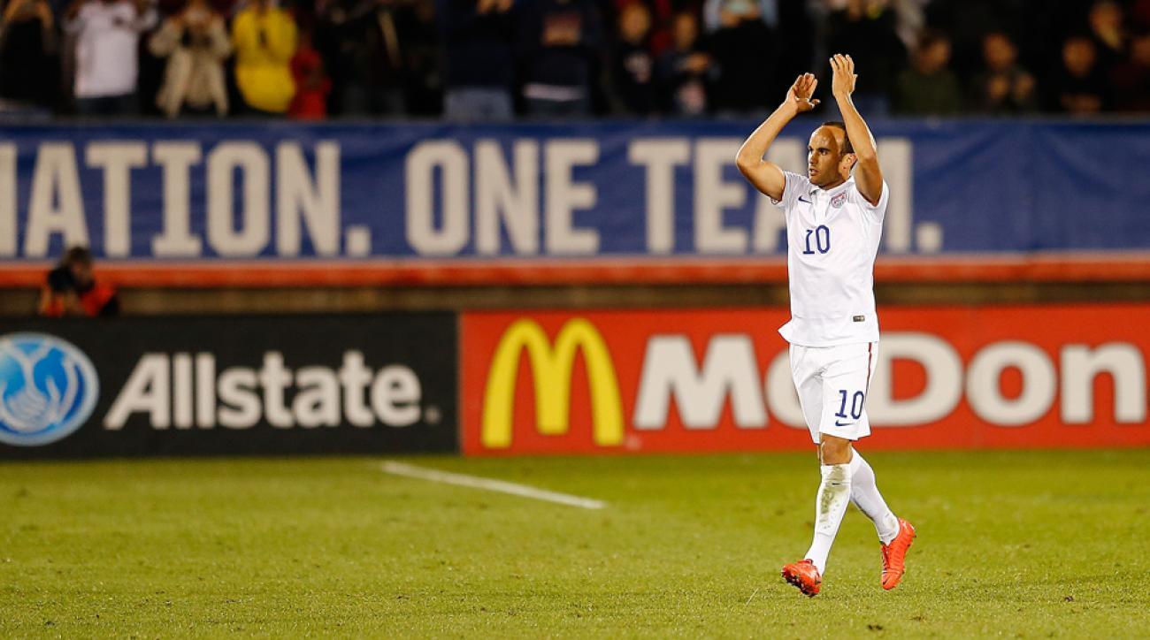 Landon Donovan applauds the fans as he exits his final U.S. men's national team match.
