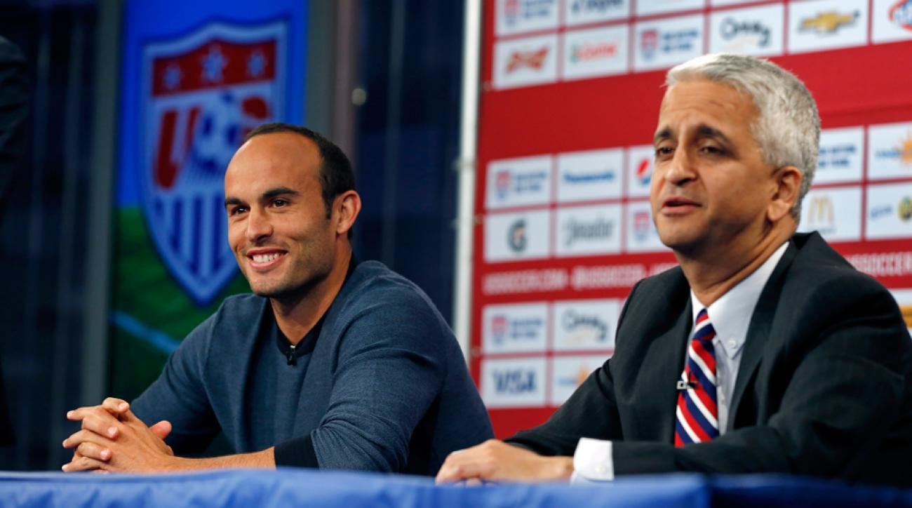Landon Donovan, left, and Sunil Gulati address the media prior to Friday's sendoff testimonial vs. Ecuador.