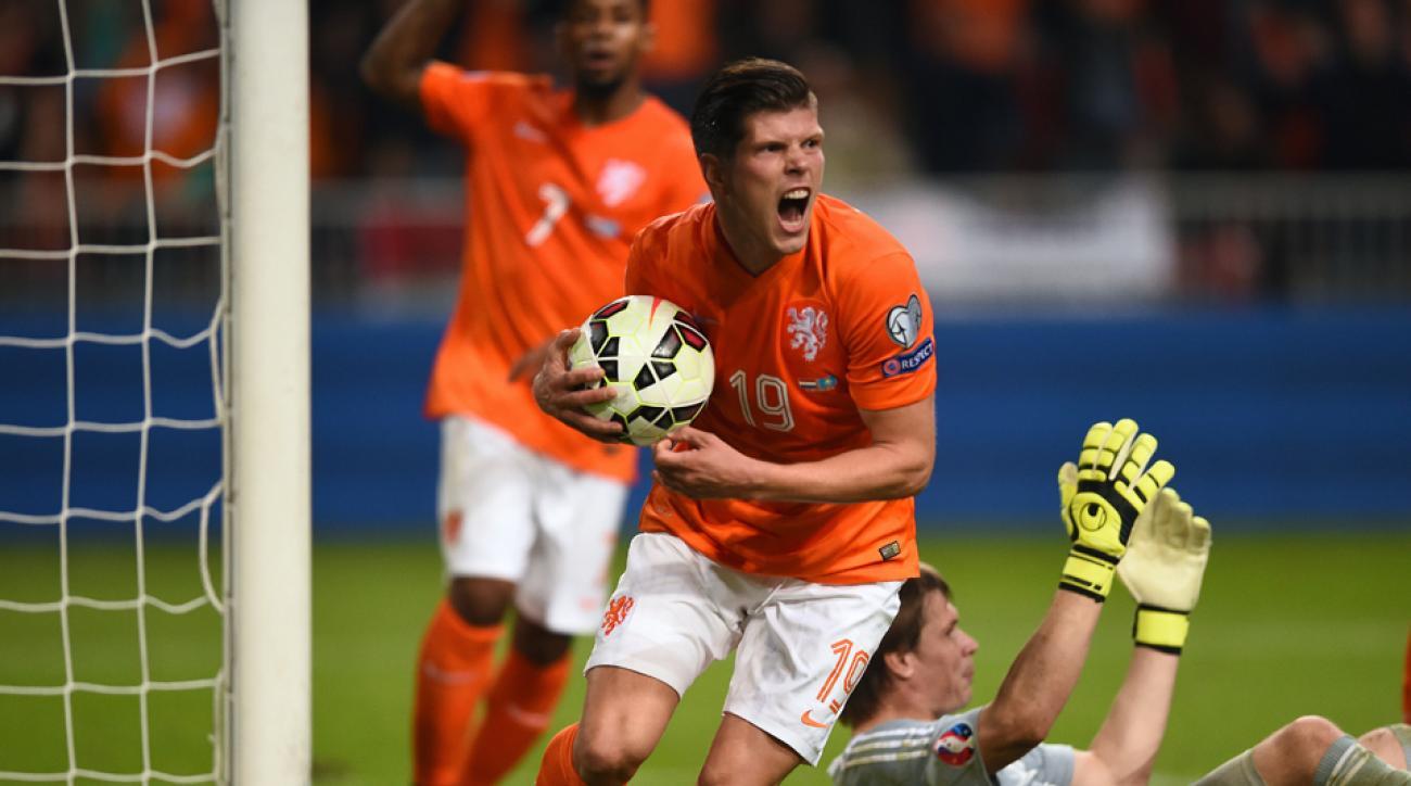 Klaas-Jan Huntelaar celebrates his goal in the Netherlands' 3-1 victory over Kazakhstan in Euro 2016 qualifying.