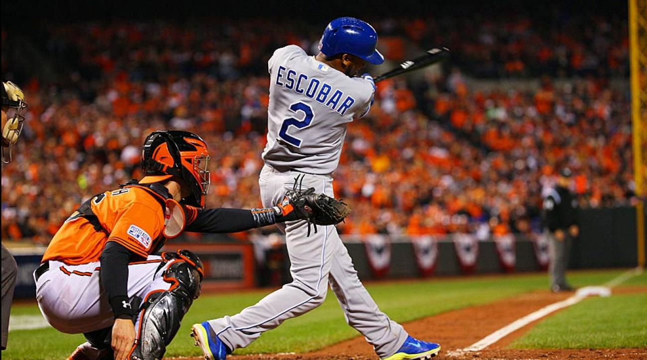 An Alcides Escobar double in the ninth inning broke a 4-4 deadlock and helped the Royals take a two-game lead in the ALCS over the Orioles.