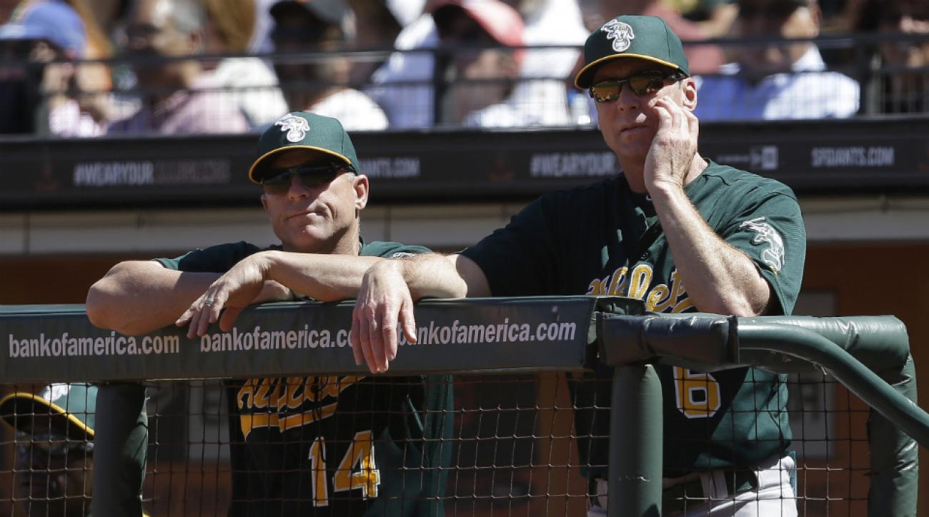 Hale, left, with A's manager Bob Melvin.