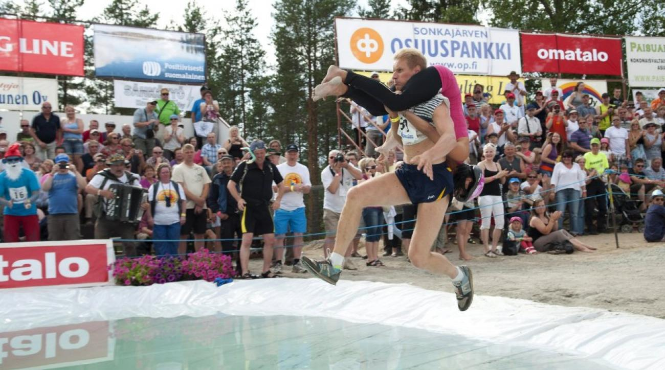 Competitors in the Finnish Wife Carrying Championship
