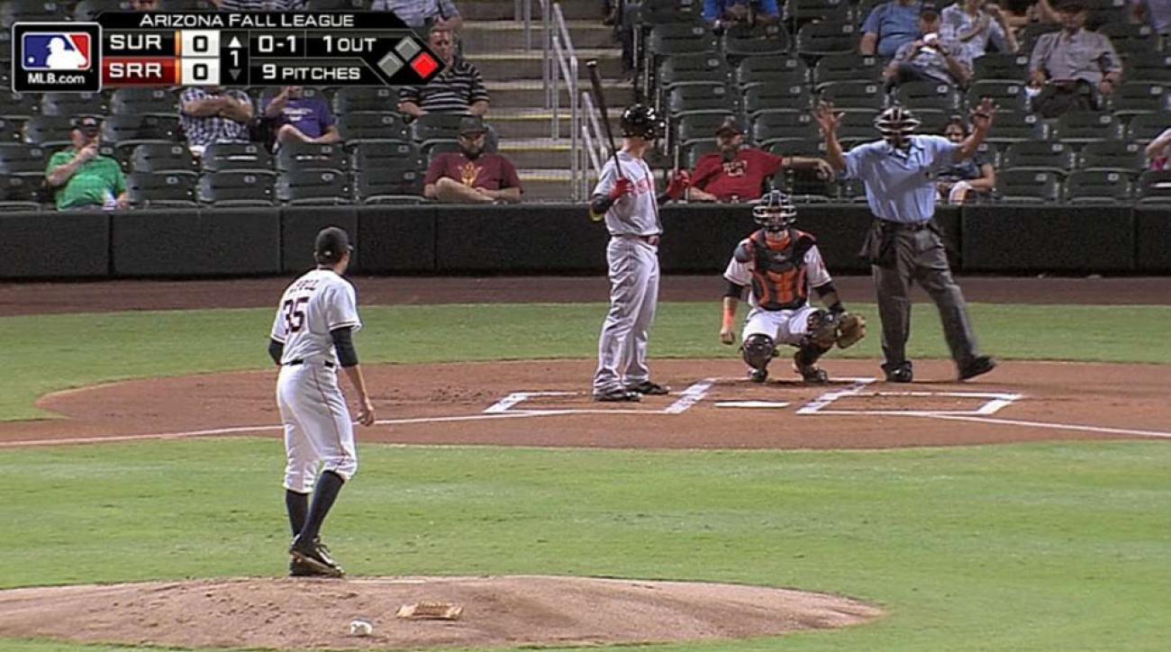 Mark Appel is issued a pitch violation after taking too long to throw the ball to home plate.