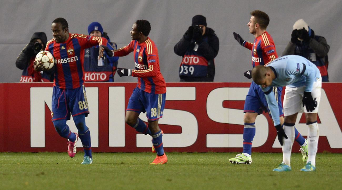 Seydou Doumbia, left, celebrates after kick-starting CSKA Moscow's comeback on Manchester City in the Champions League.