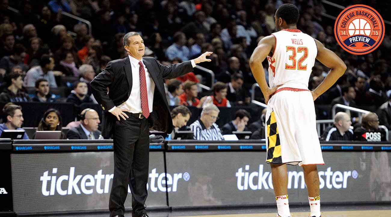 Mark Turgeon (L) will rely heavily on his returning star Dez Wells to help the Terrapins navigate the Big Ten.