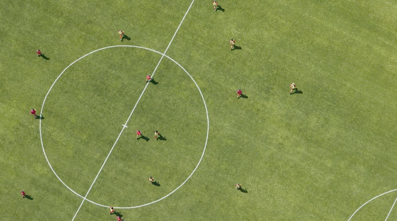 Soccer match aerial view