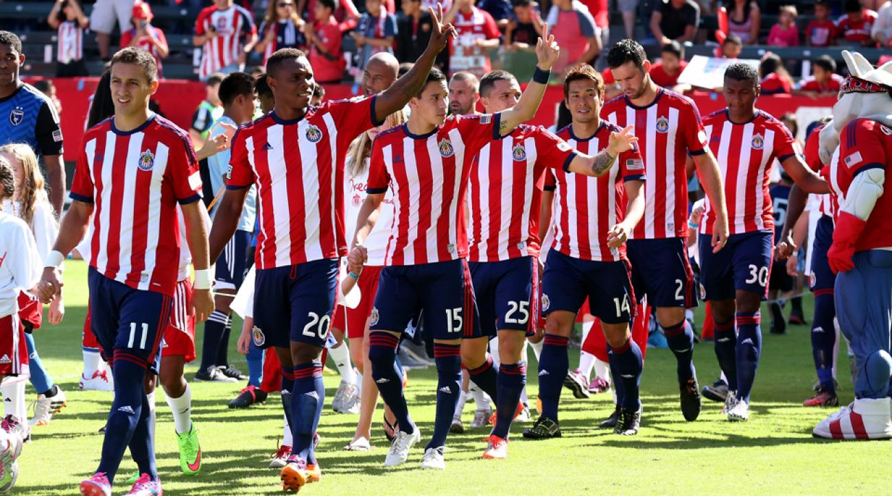 Chivas USA players acknowledge the fans ahead of what was the franchise's final game, a 1-0 win over the San Jose Earthquakes at StubHub Center on Sunday.