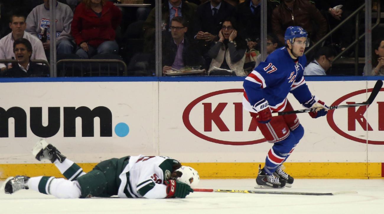 Rangers D John Moore suspended Erik Haula