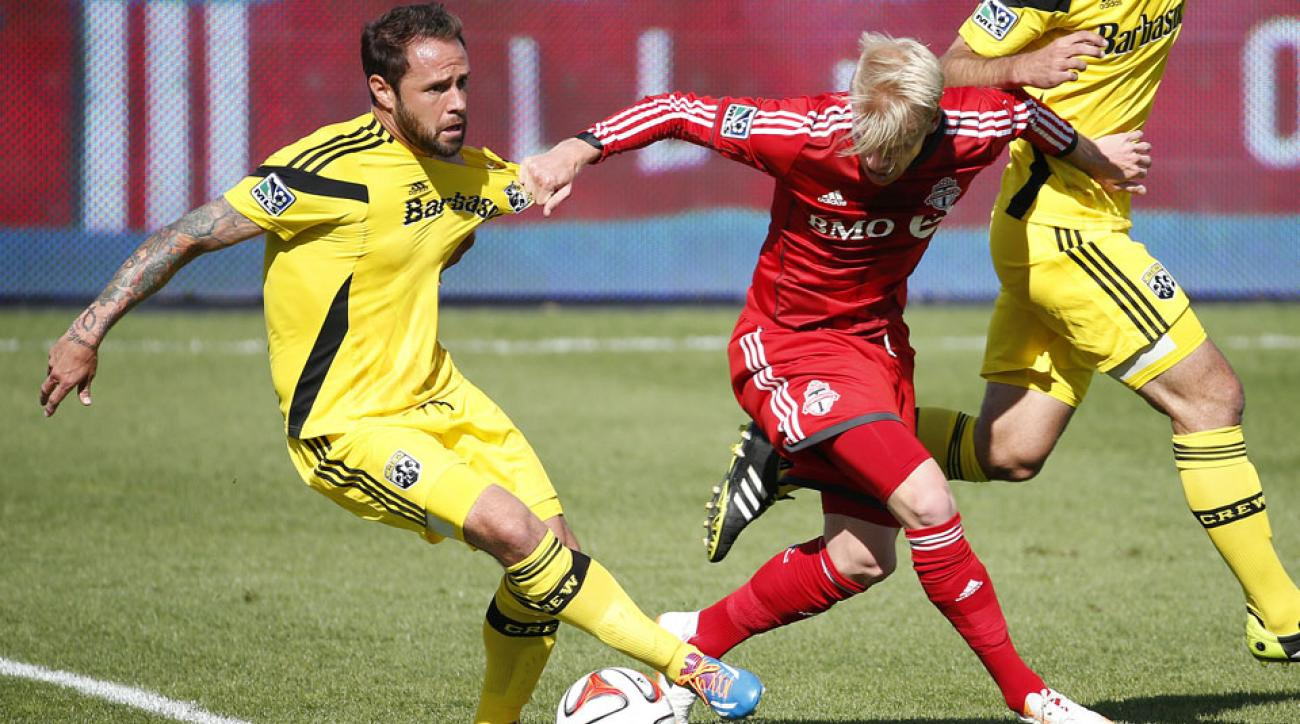 Columbus Crew's Daniel Paladini (left) has been suspended by Major League Soccer.